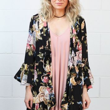 Softly Kissed Floral + Ruffles Kimono {Black} EXTENDED SIZES