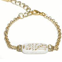 Eye of Ja Carved Hieroglyph Gold Bracelet
