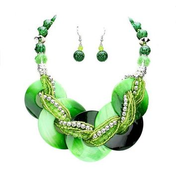 Green Abalone Necklace Earrings Set Jewelry