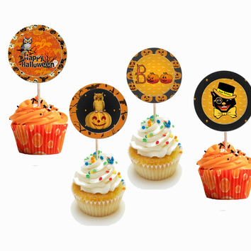 24 Pieces Halloween Cupcake Toppers Picks for Birthday Special Occasions Decorations DIY Party Supplies