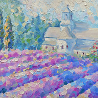 Lavender Cypress Lilac Field Flowers Italy Landscape Colorful Oil Painting Province Farm Grass Village Bedroom Wall decor Impressionism Art