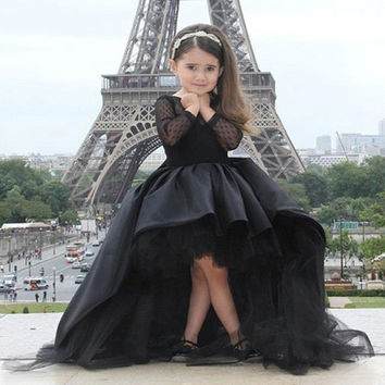 Fashion Design Ball Gown Black Flower Girl Dresses For Wedding First Communion Dresses For Girls 2016 Robe De Fille De Fleur