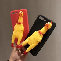 2017 Hot Screaming Chicken Cover for iphone 7 Case Squishy Stress Relieve Soft Silicone Case for iPhone 7 Plus 3d Relief Coque