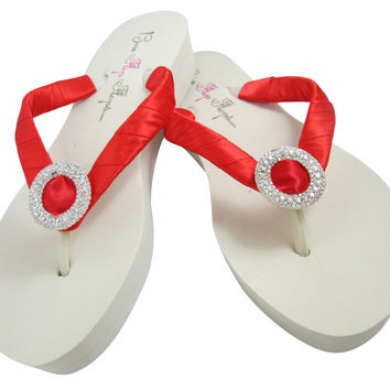 Poppy Red Satin & Luxe Jewel Wedding Wedged Flip Flops