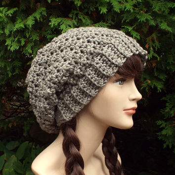 Taupe Heather Slouchy Crochet Hat - Womens Slouch Beanie - Oversized Slouchy Beanie - Chunky Hat - Winter Slouchy Hat