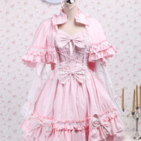 Cotton Pink Cape Sweet Lolita Dress - Milanoo.com