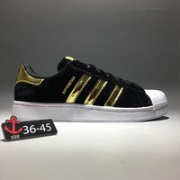 """Adidas Superstar"" Unisex Classic Casual Fashion Velvet Stripe Shell Head Plate Shoes Couple Sneakers"