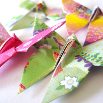 Paper Butterfly (50) Origami Butterfly, Japanese Kimono Print Mix , Rainbow Color Paper Butterfly Party Decoration