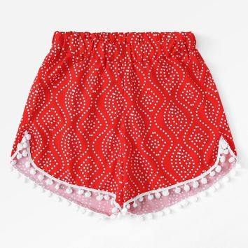 Pom Pom Trim Polka Dot Beach Shorts