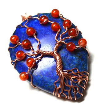 Lapis Lazuli and Carnelian Tree of Life Pendant Bare Copper Wire Wrapped Gemstone Yggdrasil Celtic  Family Tree Necklace Metaphysical Gems