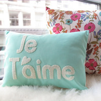 Je T'aime Pillow in Light Teal by HoneyPieDesign on Etsy