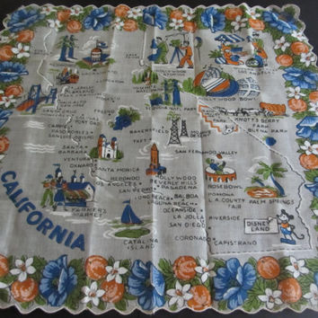 Vintage Ladies Hankie Souvenir of California