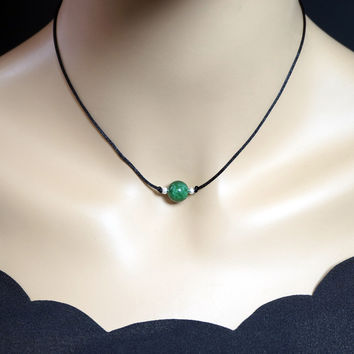 Simple Emerald Jade Choker - Silk Cord 10mm Green Jade Necklace - Single Bead Heart Chakra Healing - Jade Jewelry