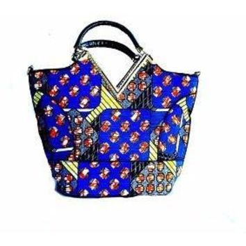 Blue African Print Satchel Bag