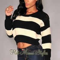 Black Cream Stripes Knit Cropped Sweater