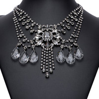 White Crystal Drop Multirow Statement Neckalce