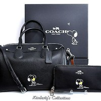COACH X Peanuts SNOOPY LIMITED EDITION Bennett Satchel Bag & Wallet Set NWT
