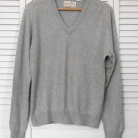 Grey Pure Cashmere Sweater V Neck Long Sleeve Womens Size Medium Vintage Clothing Vneck Sweater 100% Cashmere