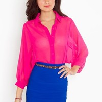 Chiffon Crop Blouse - Magenta in  What's New at Nasty Gal