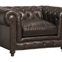 Finn Tufted Leather Chair, Charcoal, Club Chairs