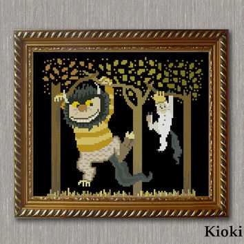 Cross Stitch Pattern Carol and Max on the tree Instant Download