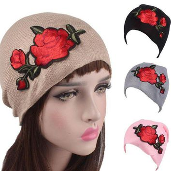 ESB1ON Roses Embroidery  Knitting Wool Hat Women's Beanies Fashion Cancer Chemo Hat Beanie Head Wrap Cap Skullie female cap