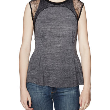 Blocked Lace Embroidered Top