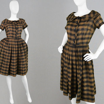 Vintage 50s Plaid Dress Full Skirt Dress 1950s Checked Dress Sailor Collar Peter Pan Collar 1950s Shirt Dress Pleated Tea Dress 50s Dress