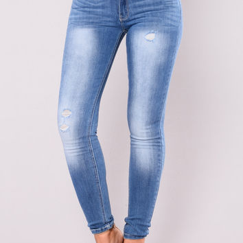 Chloe Stone Wash Skinny Jeans - Medium Blue