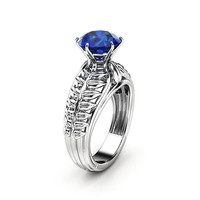 Sapphire Engagement Ring White Gold Ring Unique Engagement Ring Sapphire Ring