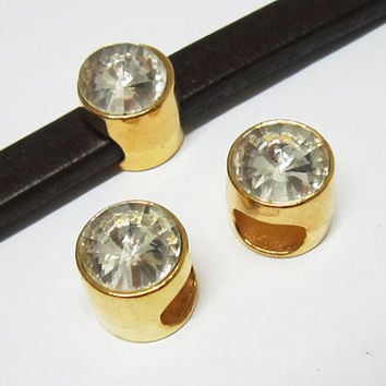 gold color crystal slide licorice, bracelet findings, leather supplies