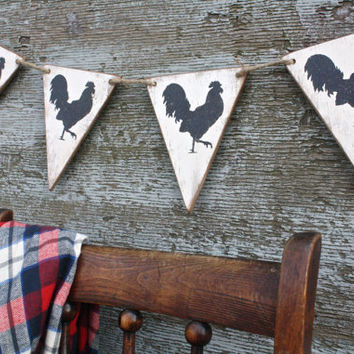 FREE SHIP Wood Rooster Banner Primitive Country Farmhouse Pennant Tags Signs