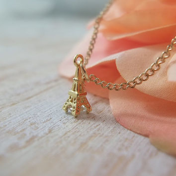 Tiny Eiffel Tower Necklace - Gold Eiffel Tower - Gold Charm - Dainty Necklace - gold pendant - Paris France