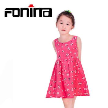 Summer Children Beach Girls Dress 2017 Teenagers Sleeveless Cotton Dress for Baby Girl Princess Style Children Toddler Vestidos