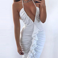 Casual Deep V Plunge Flounce Solid Color Bodycon Dress