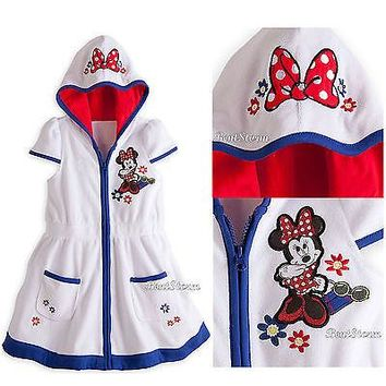 Licensed cool NEW Minnie Mouse Flowers Bow Swimsuit Cover-Up Hooded Robe SIZE 2 Disney Store