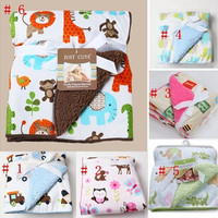 Cute Cartoon Animals Print Baby Blankets  Bath Towel Sleeping Blanket Soft Covers 6 Patterns [8834071820]