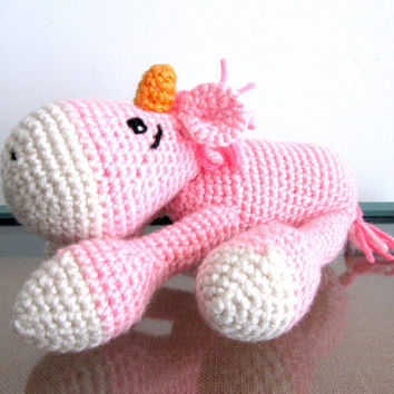Pink Crochet Unicorn, Amigurumi Unicorn, Unicorn plush, Knitted toys, Knit animals, Plush unicorn, Crochet horse, Amigurumi crochet animals