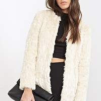 FOREVER 21 Collarless Faux Fur Jacket Cream