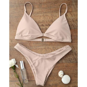Hot sale simple straps pure color pink two piece bikini swimsuit set for women 8 color