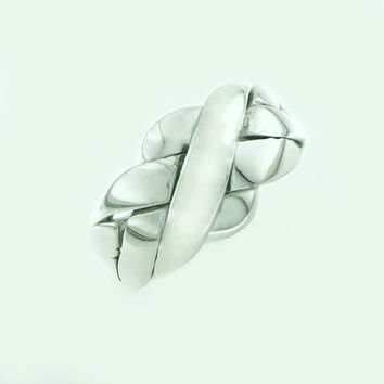 Puzzle Ring, White Gold Plated, Silver, Puzzle Interlocking Ring, 4 Bands, BN012A
