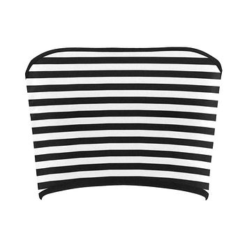 Black and White Stripes Bandeau Top
