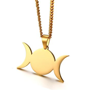 Stainless Steel Triple Goddess Crescent Moon Pendant Necklace