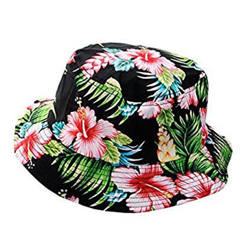 NYfashion101 Fashionable Unisex Satin Lined Printed Pattern Cotton Bucket Hat (Black Floral Large)