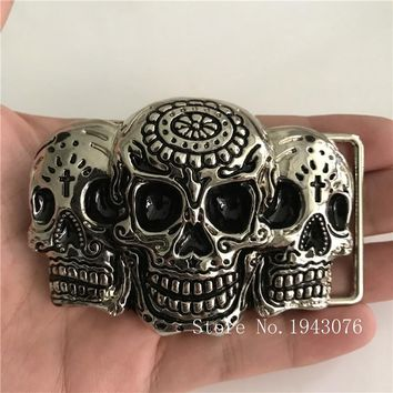 Silver Skull Cowgirl Cowboy Belt Buckles With Metal Jeans accessories Fit 4cm Wide Belt