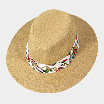 Beige Tropical print band panama hat, Sun hat, Summer hat, boat, beach, vacation