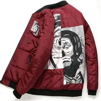 Winter Men's Jackets Hip Hop aape Leisure Brand GD Right-wing MA1 Baseball Flight Suit cotton Jacket Men Women Chinese Characters Coat