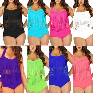 High Waisted Plus Size tassel Swimwear Bikini Set Women Swimsuit Female Bathing Suits Bikinis Push Up Sexy Beach Swim Suit