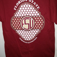 NCAA Florida State Seminoles Garnet FSU Pattern Monogram WC Short Sleeve