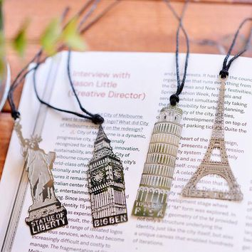 VONC1Y Elizabeth Eiffel Tower Statue Of Liberty Metal Book Markers Bookmark For Books Paper Clips Office School Supplies Stationery
